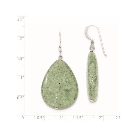 925 Sterling Silver Large Crack Aventurine Green Tear Drop (23x49mm) Earrings - image 1 of 2