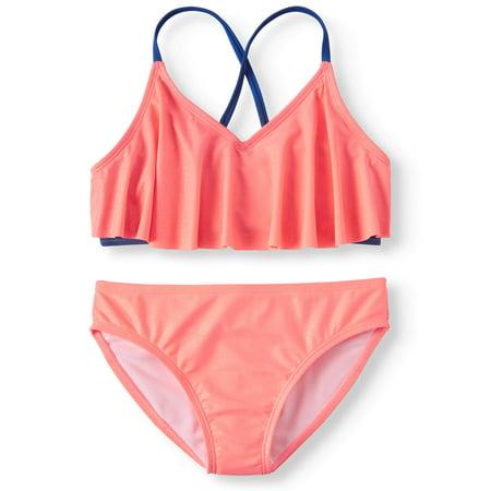 Solid Flounce Bikini Swimsuit (Big Girls) (Big Bikini)