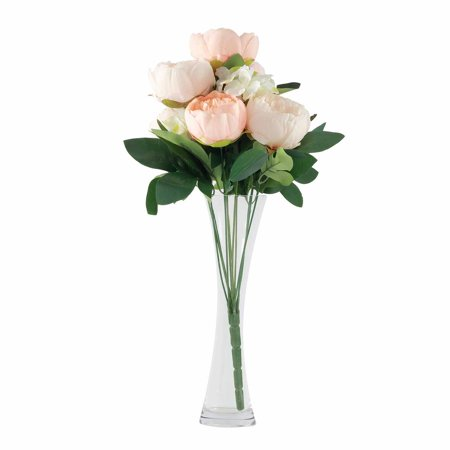 BalsaCircle 14 Silk Peony and Hydrangea Flowers - 2 Bushes - Party Wedding Arrangements Centerpieces Bouquets Event Ceremony Bush Pink Flowers