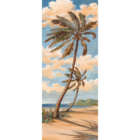 Palm Breeze I - Mini Classic Best Ocean Classy Seascape Cool Vintage Tree Beach Poster (Best Beaches With Palm Trees)