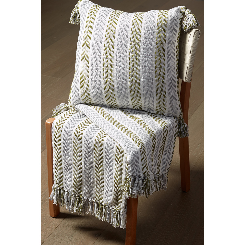 "LR Home Chevron Striped Green / Gray 18"" x 18"" Indoor Square Hand - Crafted Altair Willow Throw Pillow"