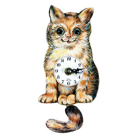Black Forest Cat's Eye 6-Inch Wide Wall Clock (Black Cat Clock With Moving Eyes And Tail)
