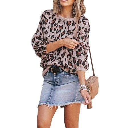 Women Knit Sweater Puff Long Sleeve Sweater Crewneck Cardigan Loose fit Pullover Leopard Sweater