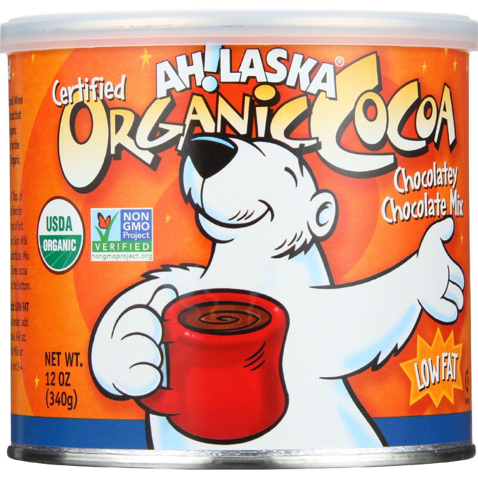 AhLaska Cocoa Mix - Organic - Chocolatey Chocolate - Low Fat - 12 oz - case of 12