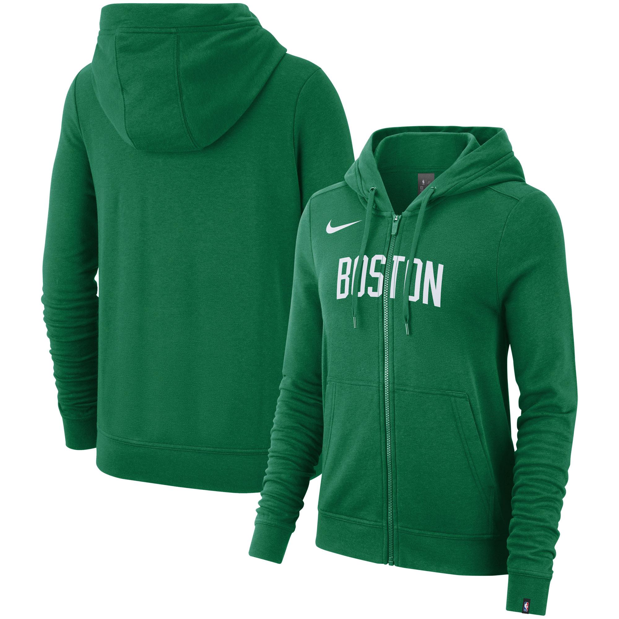 Boston Celtics Nike Women's Essential Wordmark Full-Zip Hoodie - Kelly Green