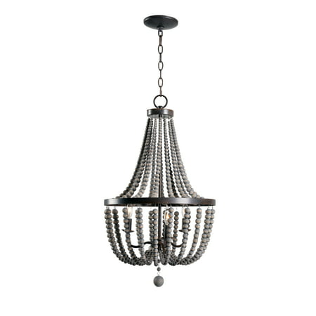 Dumas 3 Light Wood Bead (Place Three Light Chandelier)
