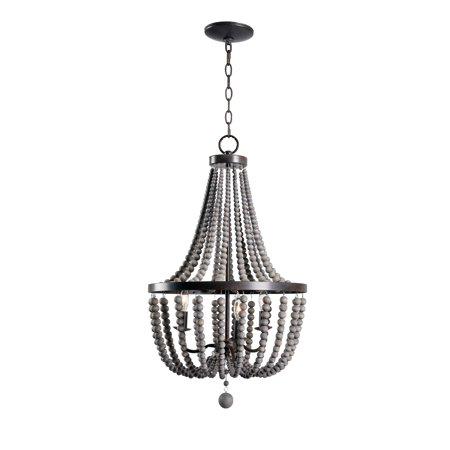 Dumas 3 Light Wood Bead Chandelier