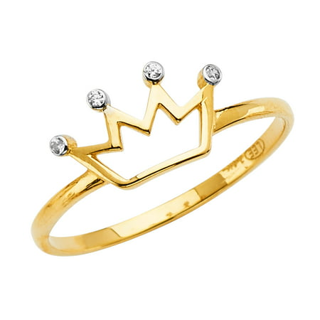 Jewels By Lux14K Yellow Gold Crown Cubic Zirconia CZ Fashion Anniversary Ring Size 5.5