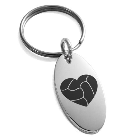 Stainless Steel Love Volleyball Heart Engraved Small Oval Charm Keychain Keyring - Volleyball Keychains