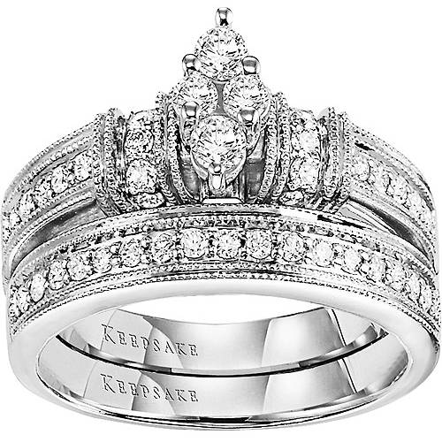 Keepsake Southern Belle 5 8 Carat T.W. 14kt White Gold Bridal Set by