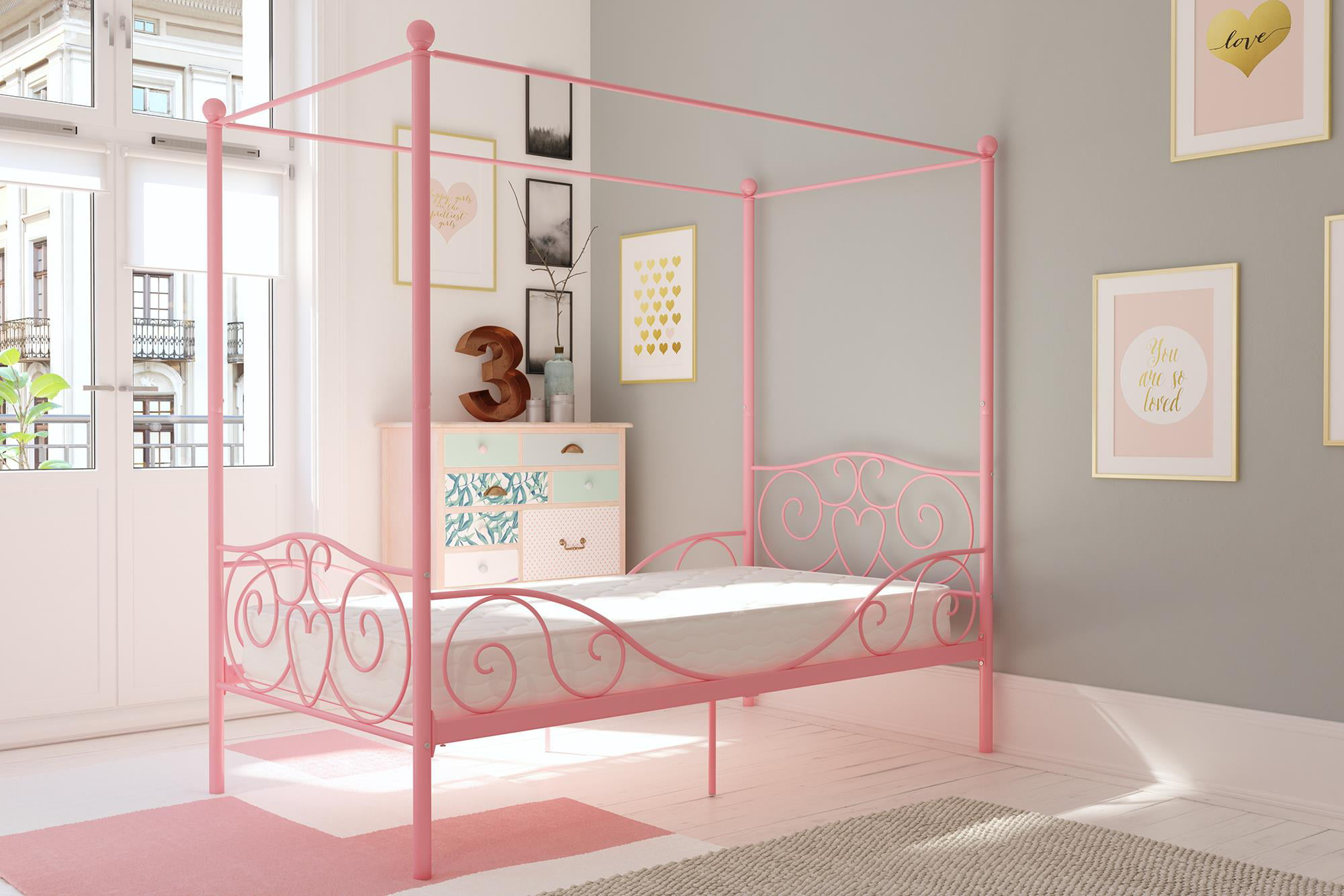 Dhp Metal Canopy Bed With Mattress Twin Multiple Finishes Walmart Com Walmart Com
