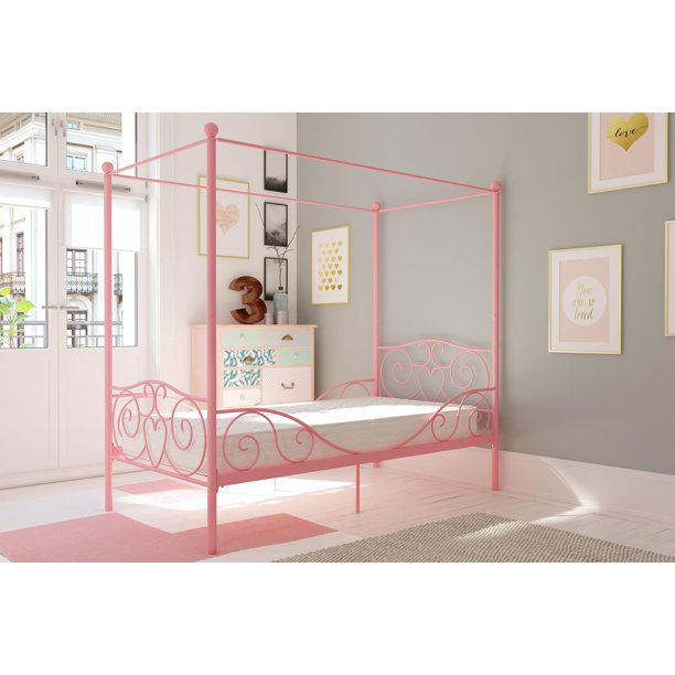 DHP Metal Canopy Bed with Mattress, Twin, Multiple Finishes
