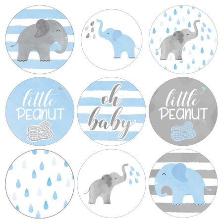 Blue Elephant Baby Shower Stickers 198ct - Girl or Boy Baby Shower Favor Candy Decorations - 198 Count - Elephant Boy Baby Shower Decorations