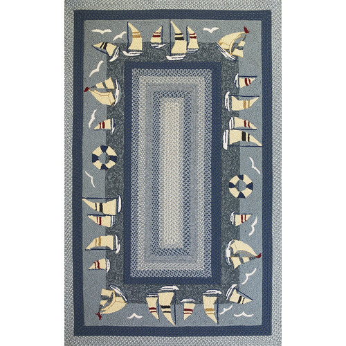 KAS Rugs Fairfax Sailboats Blue Area Rug
