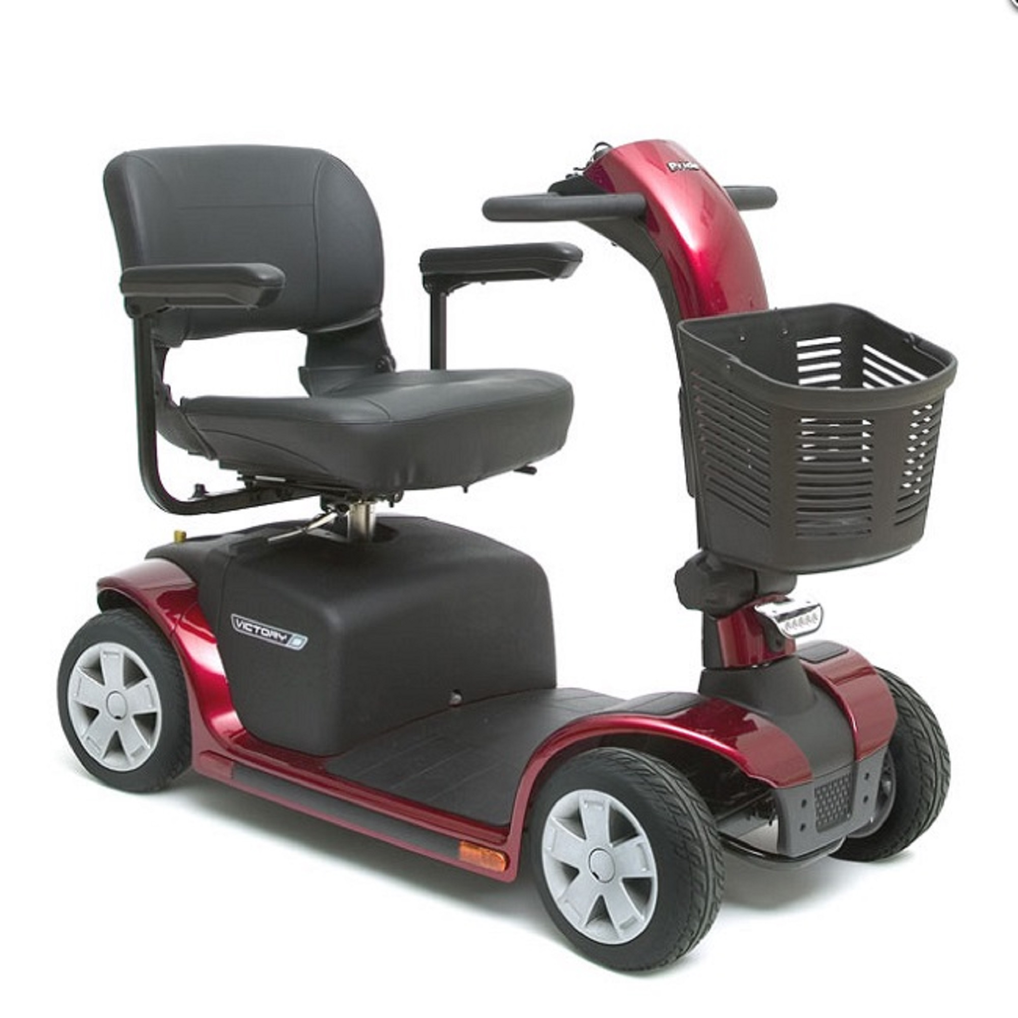 Pride Mobility - Victory 9 - Mid-Sized Scooter - 4-Wheel - Candy Apple Red - PHILLIPS POWER PACKAGE TM