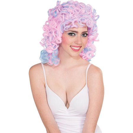 Two-Tone Cotton Candy Costume Wig Adult: Pink & Blue One Size - Pink Wigs For Sale