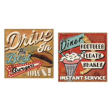 50's Style Diner Signs; Burgers, Milkshakes, Floats and Milkshakes by Pela Studios; Two 12x12in Paper Posters - 50's Style Home Decor