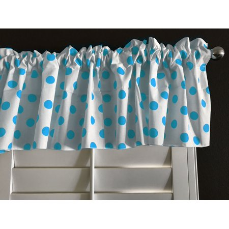 Turquoise Dot - cotton polka dots window valance 58 wide turquoise on white