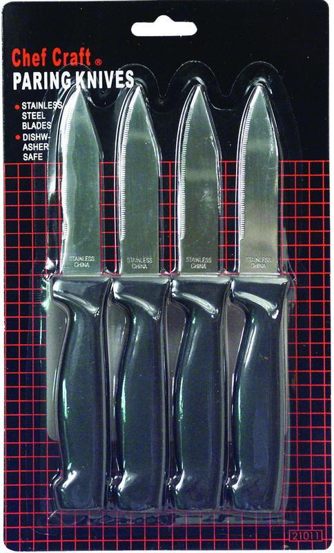 Chef Craft 20980 4-Piece Paring Knife, 2-1 2 in L, Stainless Steel by Chef Craft