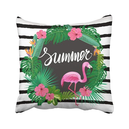 RYLABLUE Black Floral Bright Summer With Tropic Plants Exotic Flowers And Pink Flamingo Green Pillowcase Pillow Cushion Cover 16x16 inches - image 1 of 1