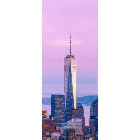 Illuminated One World Trade Center amidst buildings against sky in city at dusk Manhattan New York City New York State USA Canvas Art - Panoramic Images (6 x 15)