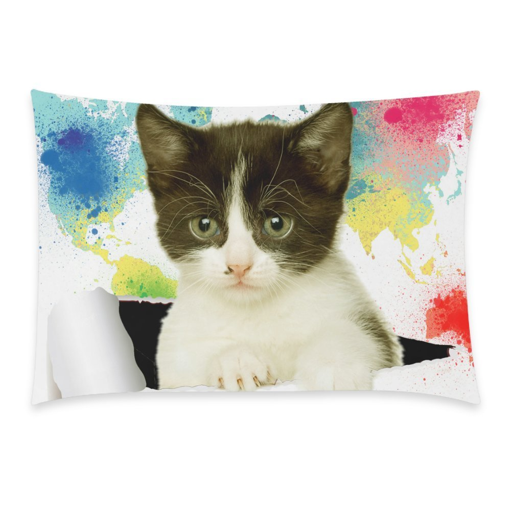 ZKGK Watercolor World Map Cat Pillowcase Standard Size 20 x 30 Inches Two Side for Couch Bed,Cat Looking out Colorful Art Painting Paper Hole Pillow Cases Cover Set Pet Shams Decorative