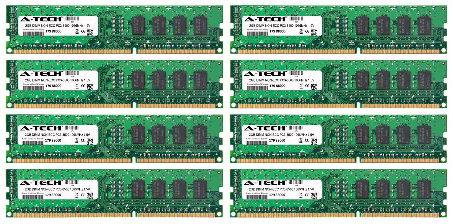 16GB Kit 8x 2GB Modules PC3-8500 1066MHz 1.5V NON-ECC DDR3 DIMM Desktop 240-pin Memory Ram