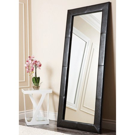 Abbyson Living Delano Black Leather Floor Mirror Walmart Com