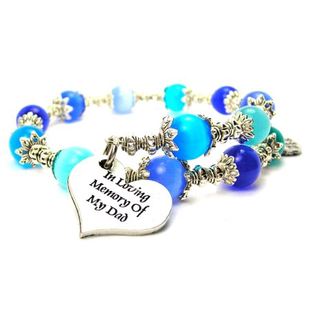 Chubby Chico Charms In Loving Memory Of My Dad  Cat's Eye Wrap Charm Bracelet in Sapphire Blue and Aqua Blue