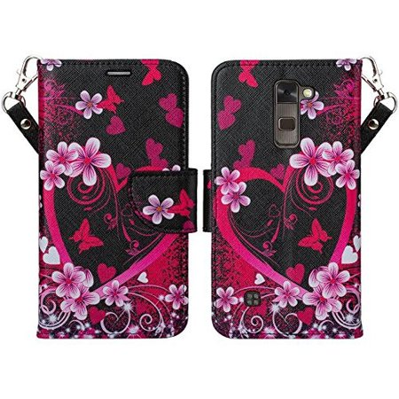 - LG K7 Case, LG Tribute 5 Case, LG Treasure Wallet Case, Wrist Strap Magnetic Flip Fold[Kickstand] Pu Leather Wallet Case with ID & Credit Card Slots - Heart Butterflies