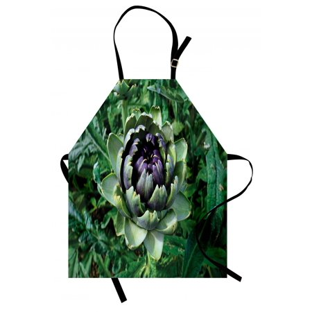 Aaron Photograph - Artichoke Apron Photograph of Blooming Vegetable Agriculture Nature Artwork Print, Unisex Kitchen Bib Apron with Adjustable Neck for Cooking Baking Gardening, Fern Green and Purple, by Ambesonne