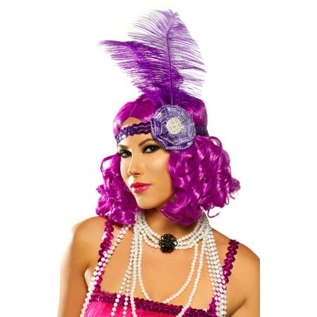 Womens Purple Flapper Halloween Wig - Purple Wig Halloween