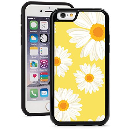 For Apple iPhone 6 Plus 6s Plus Shockproof Impact Hard Soft Case Cover Daisy Flowers on Yellow (Black) Yellow Flowers Protector Faceplate