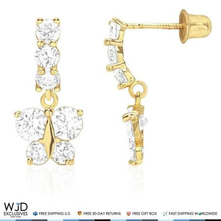 14K Yellow Gold Created Diamond Butterfly Dangle Drop Baby Screwback - Baby Diamond Earrings