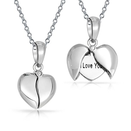 Unique WORD I Love You  Best Friend Mom Heart Locket Pendant Necklace For Girlfriend For Women 925 Sterling
