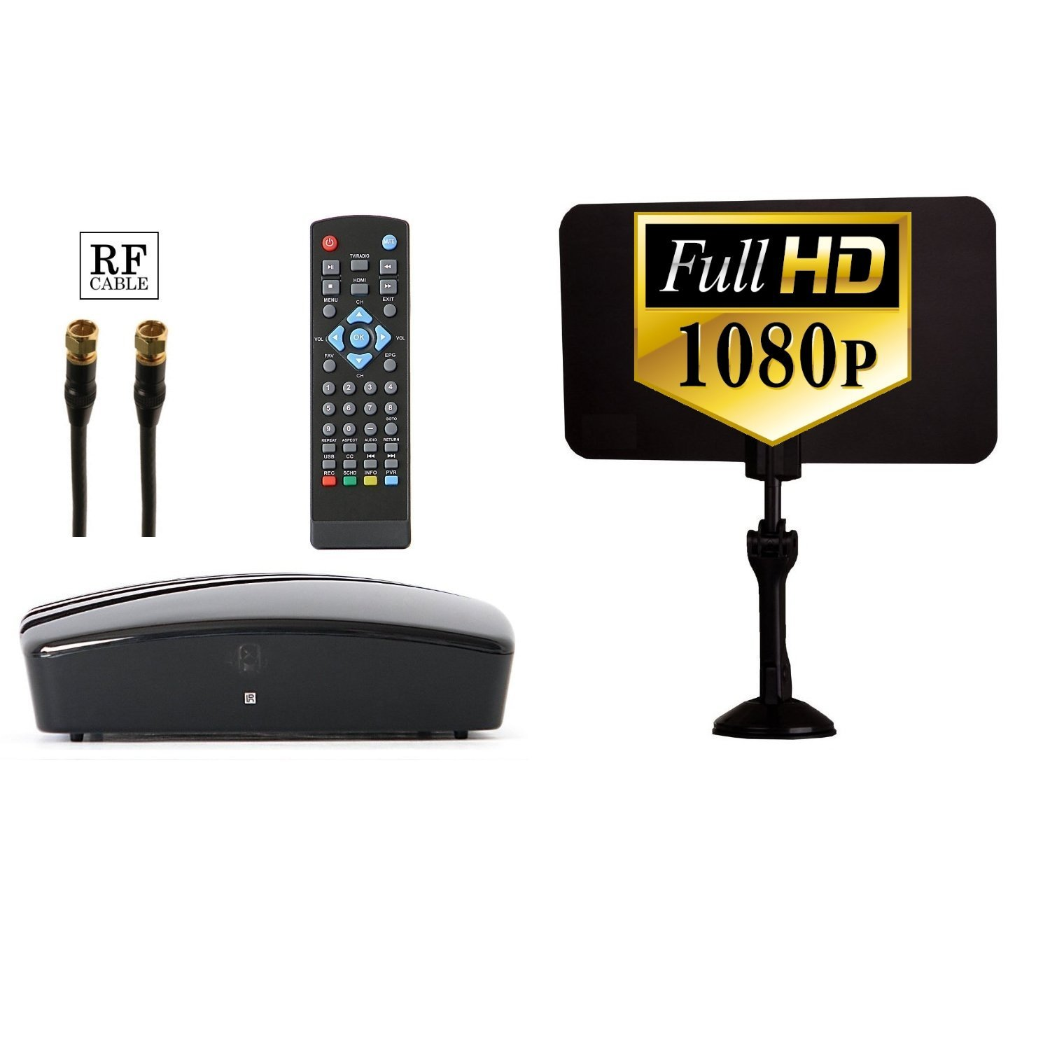 Digital TV Converter Box + Digital Antenna + RF and RCA Cable - Complete Bundle to View and Record HD Channels FREE (Instant or Scheduled Recording, 1080P HDTV, HDMI Output And 7 Day Program Guide)