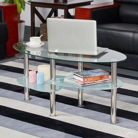 Yaheetech Tier Modern Living Room Oval Glass Coffee Table Round - Round glass coffee table with chrome legs