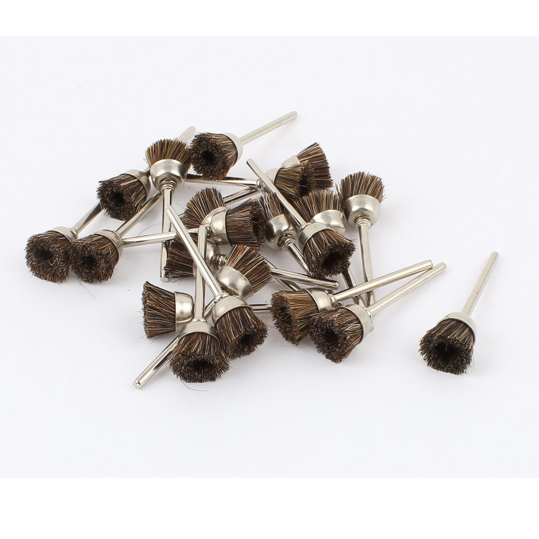 22 Pcs Replacement Rotary Tool 15mm Dia Brown Nylon Brush Wheel Polisher