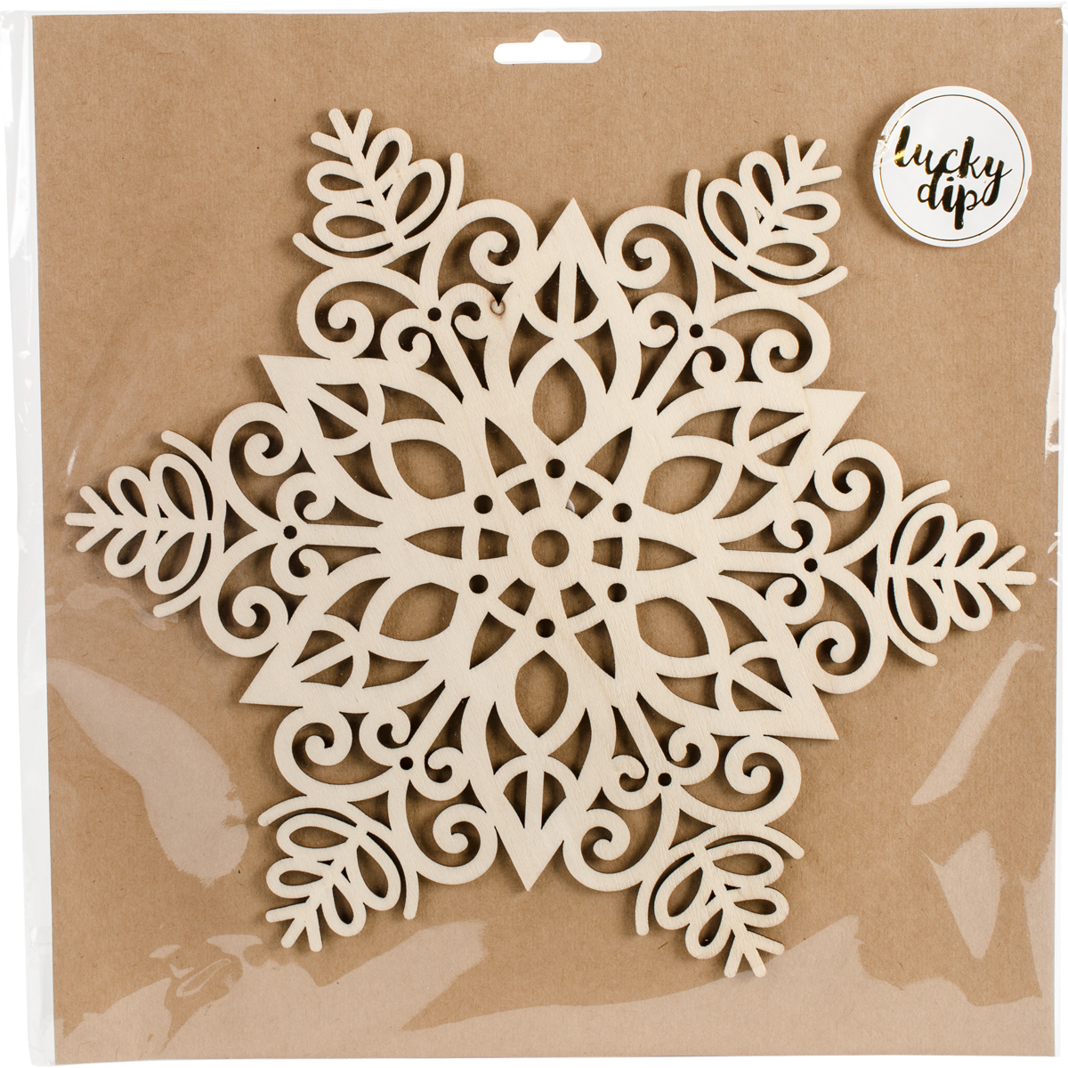 "Lucky Dip Wood Flourish-Snowflake 9.75""X9.75"""