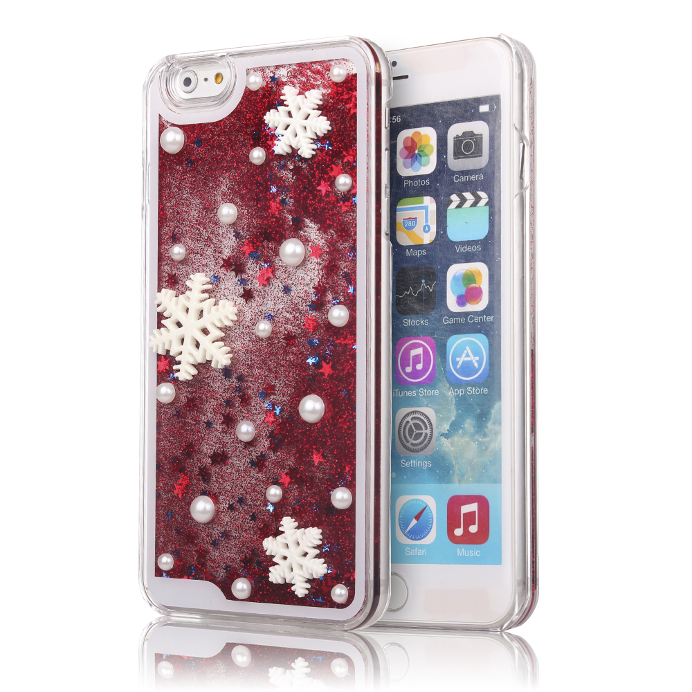 "iPhone 7 Plus Case, MINI-FACTORY Bling Glitter Christmas Snowflake Phone Case Liquid Style Protective Dual Layer Cover for iPhone 7 Plus (5.5"" screen)"