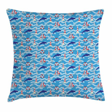 Lighthouse Throw Pillow Cushion Cover, Wavy Lines Aquatic Elements Dolphins Seahorses and Boats Marine Summer, Decorative Square Accent Pillow Case, 18 X 18 Inches, Blue Navy Blue Red, by Ambesonne