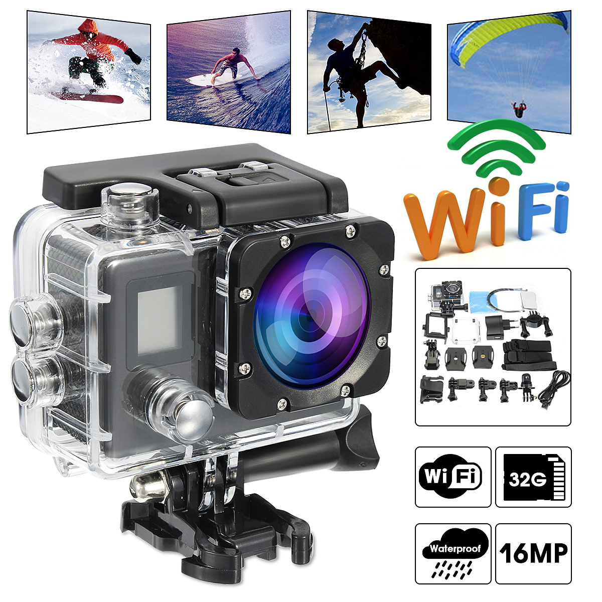 "2"" 4K WIFI Sport Camcorders Waterproof Sports Action Camera Dual Screen DV 1080P HD Cam DVR 16MP 170 Degree Wide Angle Lens"
