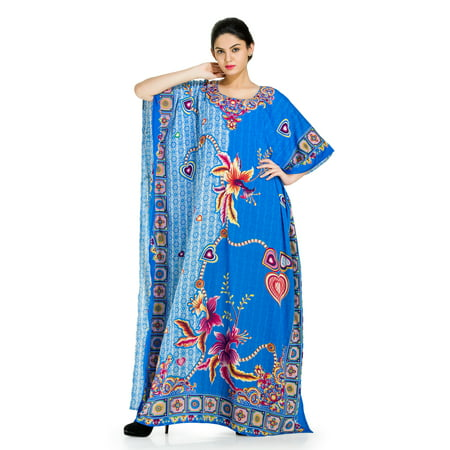 Goood Times Beautiful Blue Long Kaftan Dresses For Women Plus Size