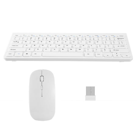 Wireless Keyboard and Mouse 2.4GHz Multimedia Mini Keyboard Mouse Combos USB Receiver for Notebook Laptop Mac Desktop PC TV Office (Wireless Keyboard And Mouse For Samsung Tv)