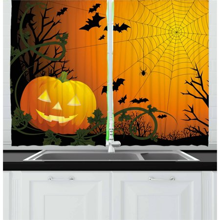 Spider Web Curtains 2 Panels Set, Halloween Themed Composition with Pumpkin Leaves Trees Web and Bats, Window Drapes for Living Room Bedroom, 55W X 39L Inches, Orange Dark Green Black,