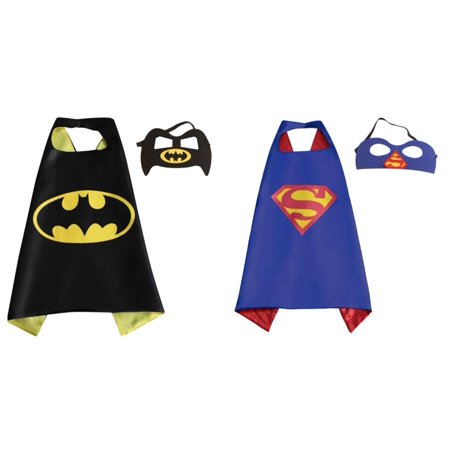 Superman & Batman Costumes - 2 Capes, 2 Masks with Gift Box by Superheroes