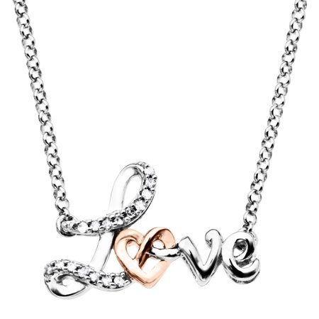 Love' Knot Necklace with Diamonds in Sterling Silver & 10kt Rose Gold