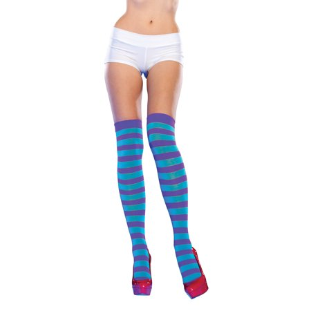 Neon Striped Thigh Highs LA6335 - Pink/Lime](Purple And Pink Striped Tights)