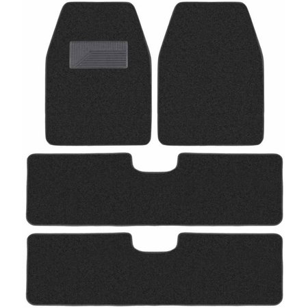 BDK 3 Row Carpet Floor Mats for SUV and Van, 4 Pieces Set Durable Carpet Liner Rug