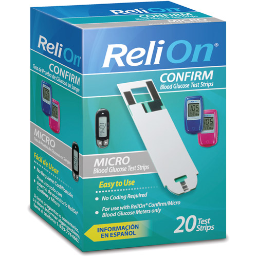 ReliOn Confirm/Micro Blood Glucose Test Strips, 20ct